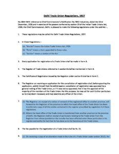 Delhi Trade Union Regulations, 1927