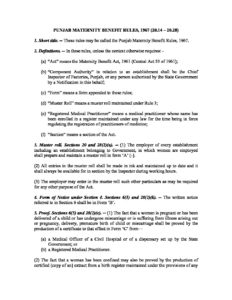 Punjab Maternity Benefit Rules, 1967