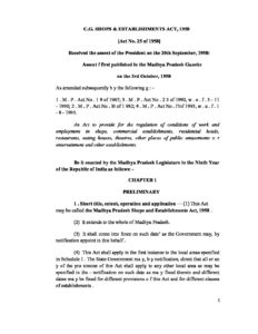 Chattisgarh Shops & Commercial Establishment Act 1956